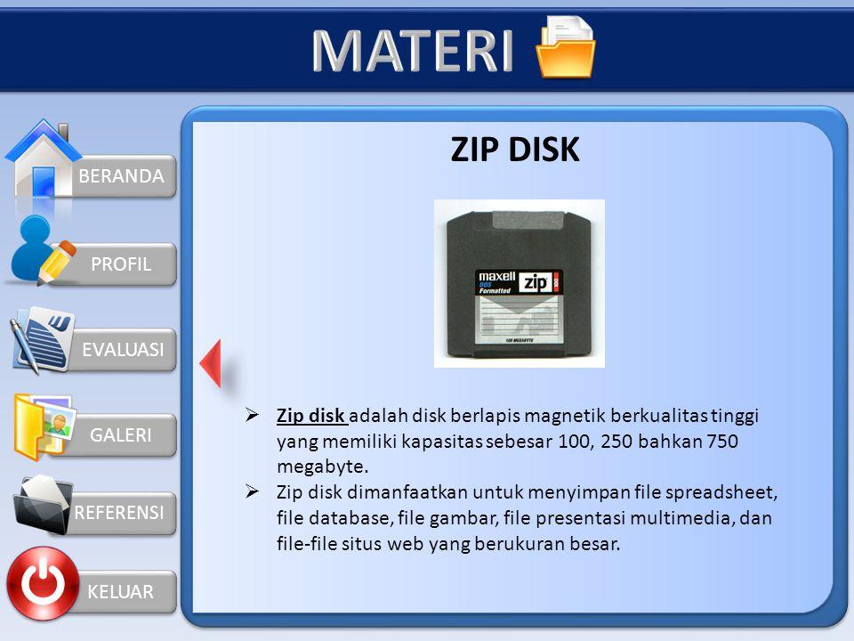 """BERANDA GALERI REFERENSI KELUAR PROFIL DISKET atau FLOPPY DISK Disket atau floppy disk atau cukup disebut """"disk"""" adalah lembaran plastik tipis dan dat"""