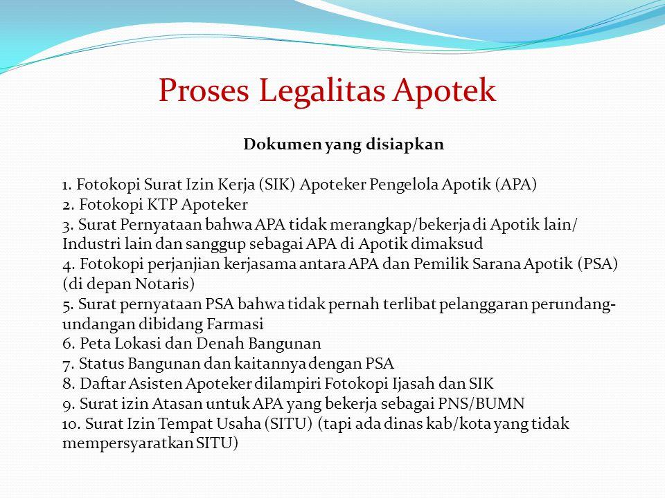 Dokumen yang disiapkan 1. Fotokopi Surat Izin Kerja (SIK) Apoteker Pengelola Apotik (APA) 2. Fotokopi KTP Apoteker 3. Surat Pernyataan bahwa APA tidak