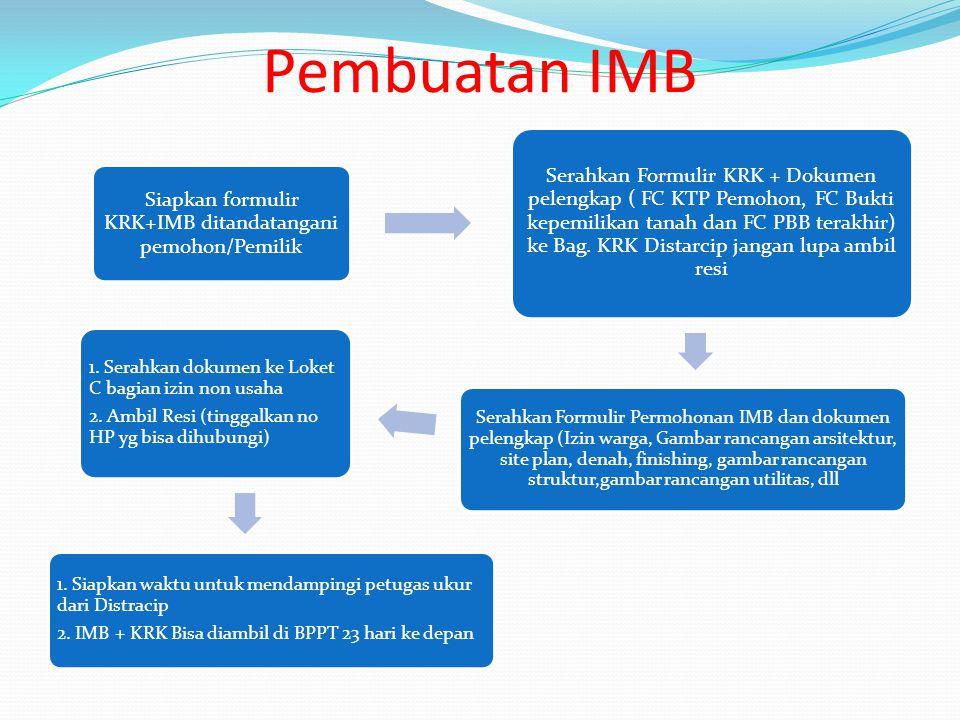 Pembuatan IMB Siapkan formulir KRK+IMB ditandatangani pemohon/Pemilik Serahkan Formulir KRK + Dokumen pelengkap ( FC KTP Pemohon, FC Bukti kepemilikan