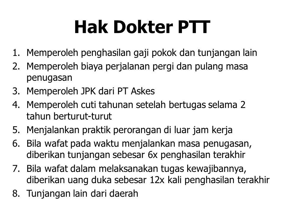 NILAI PLUS DOKTER PTT Wawasan Nusantara Kepemimpinan Komunikasi Kecepatan bertindak Pola pikir dan intuisi Prioritas dalam kerja, termasuk PNS Prioritas dalam PPDS???