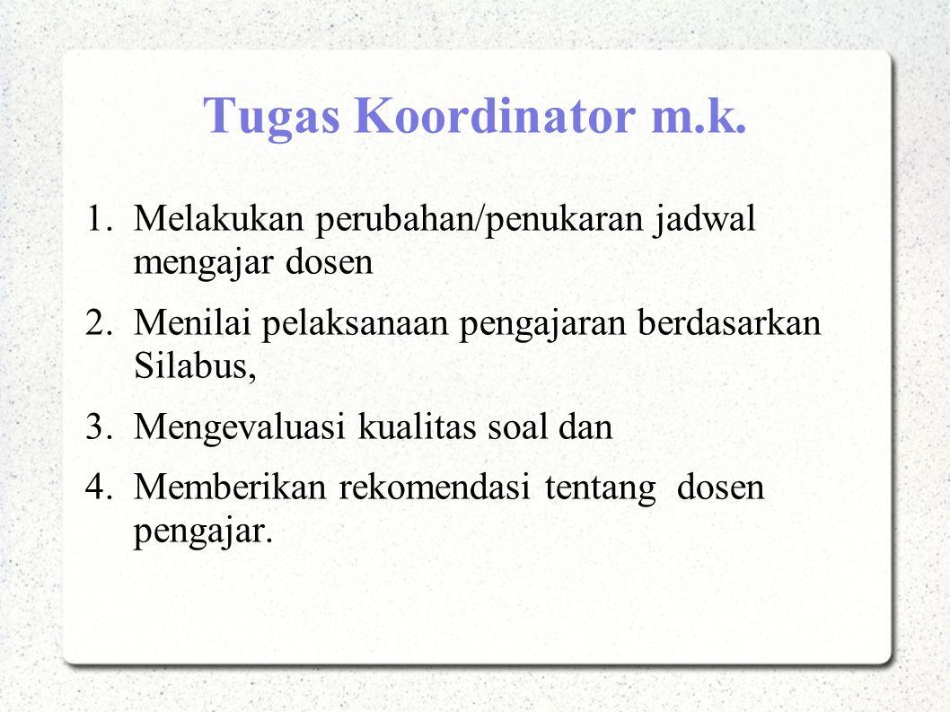 Tugas Koordinator m.k. 1.Melakukan perubahan/penukaran jadwal mengajar dosen 2.Menilai pelaksanaan pengajaran berdasarkan Silabus, 3.Mengevaluasi kual