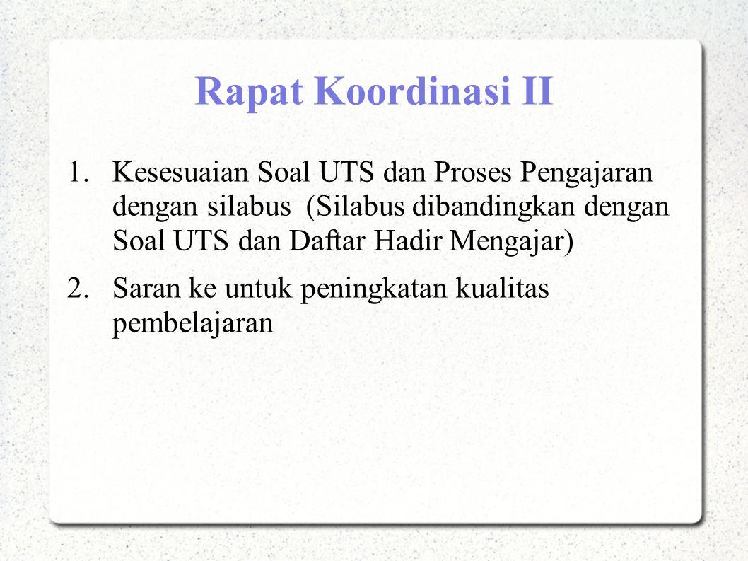 Rapat Koordinasi II 1.Kesesuaian Soal UTS dan Proses Pengajaran dengan silabus (Silabus dibandingkan dengan Soal UTS dan Daftar Hadir Mengajar) 2.Sara