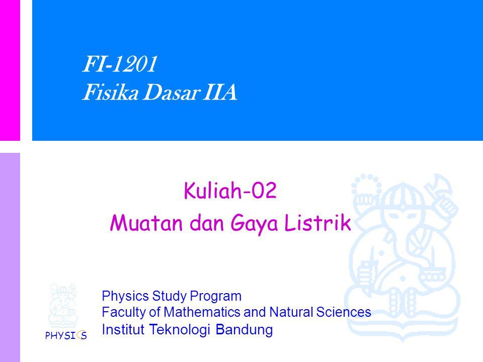 Physics Study Program - FMIPA | Institut Teknologi Bandung PHYSI S Hukum Coulomb Satuan untuk konstanta ditentukan dari hukum Coulomb Coulomb telah menentukan konstanta ini dalam satuan SI k = 8.987.5x10 9 Nm 2 C -2 k secara normal dinyatakan sebagai k = 1/4  0