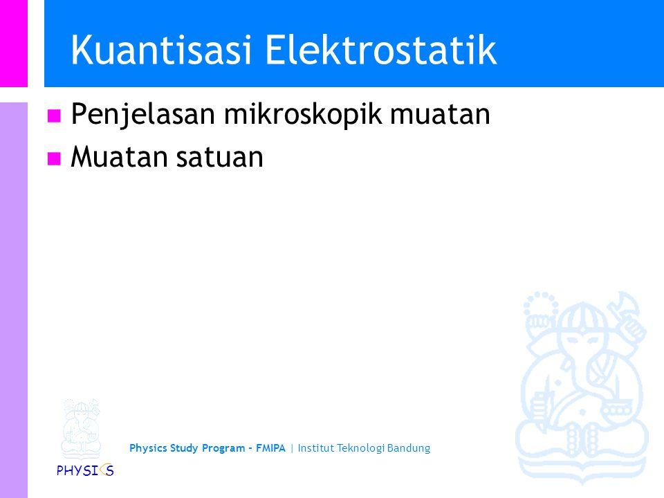 Physics Study Program - FMIPA | Institut Teknologi Bandung PHYSI S Kuantisasi Elektrostatik Penjelasan mikroskopik muatan Muatan satuan