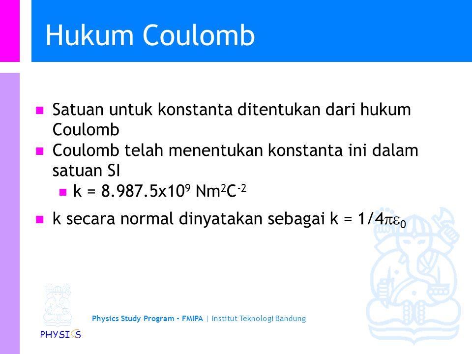 Physics Study Program - FMIPA | Institut Teknologi Bandung PHYSI S Hukum Coulomb Penentuan Coulomb Gaya tarik menarik jika muatan berbeda tanda Gaya s