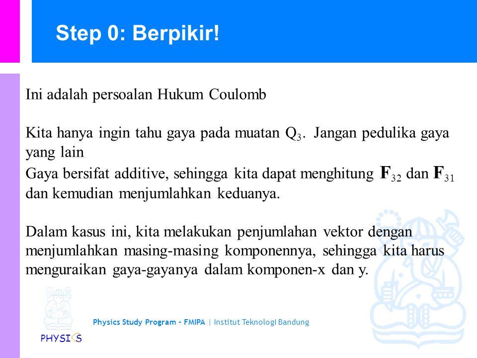 Physics Study Program - FMIPA | Institut Teknologi Bandung PHYSI S Menyelesaikan persoalan Hukum Coulumb dan Vektor Hitunglah total gaya elektrostatik pada muatan Q 3 karena pengaruh muatan Q 1 dan Q 2.