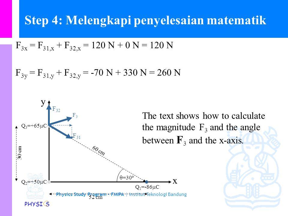 Physics Study Program - FMIPA | Institut Teknologi Bandung PHYSI S Step 3 (Lanjutan) x y Q 2 =+50  C Q 3 =+65  C Q 1 =-86  C 52 cm 60 cm 30 cm  =30º F 31 F 32 Diperoleh F 31,x = +120 N dan F 31,y = -70 N.