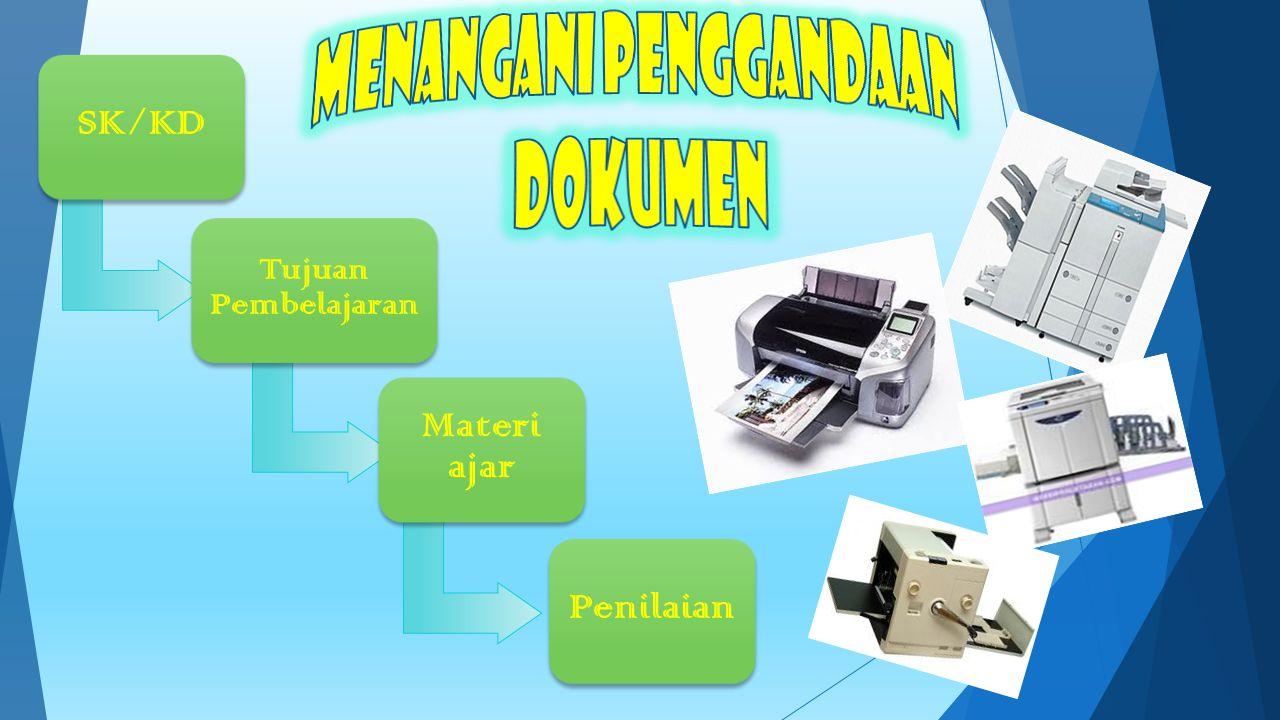 printer Suatu alat untuk menyalin kembali dokumen yang dihubungkan dengan komputer