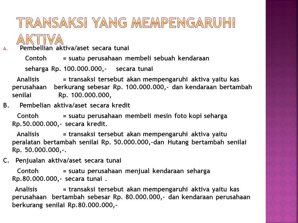 A. Pembellian aktiva/aset secara tunai Contoh= suatu perusahaan membeli sebuah kendaraan seharga Rp. 100.000.000,- secara tunai Analisis= transaksi te