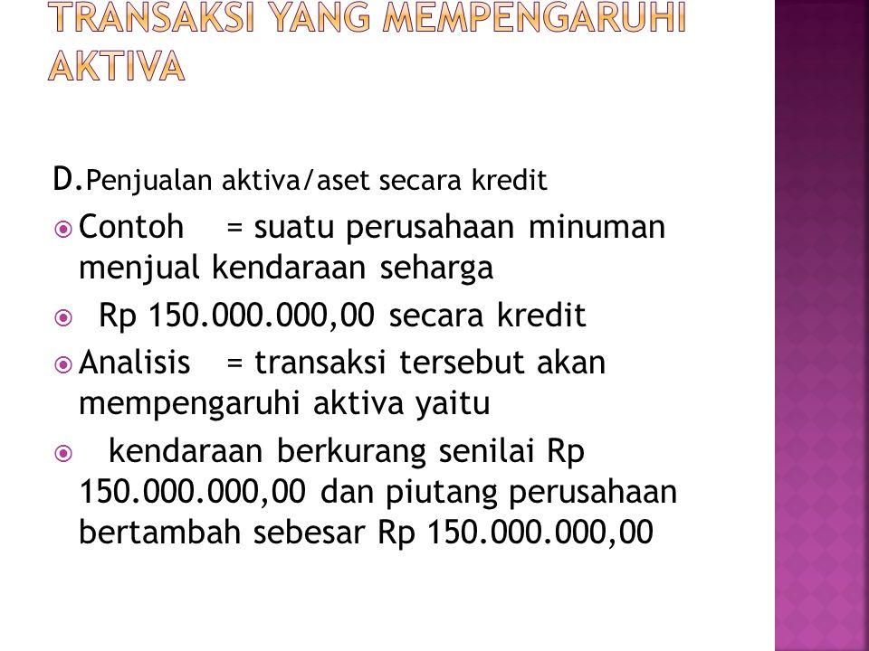 D. Penjualan aktiva/aset secara kredit  Contoh= suatu perusahaan minuman menjual kendaraan seharga  Rp 150.000.000,00 secara kredit  Analisis = tra