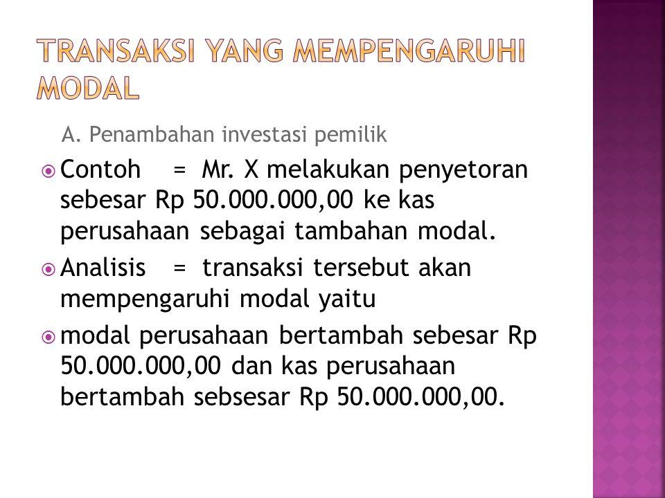 A.Penambahan investasi pemilik  Contoh = Mr.