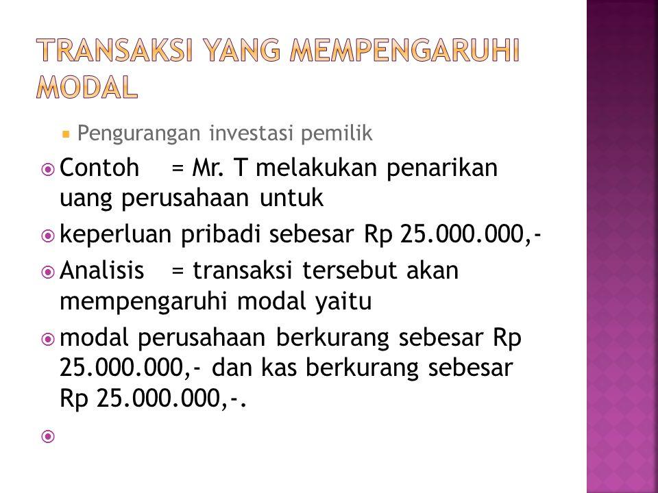  Pengurangan investasi pemilik  Contoh = Mr.