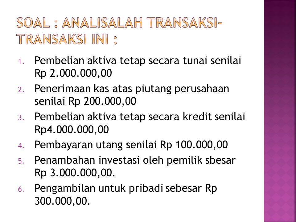 1.Pembelian aktiva tetap secara tunai senilai Rp 2.000.000,00 2.