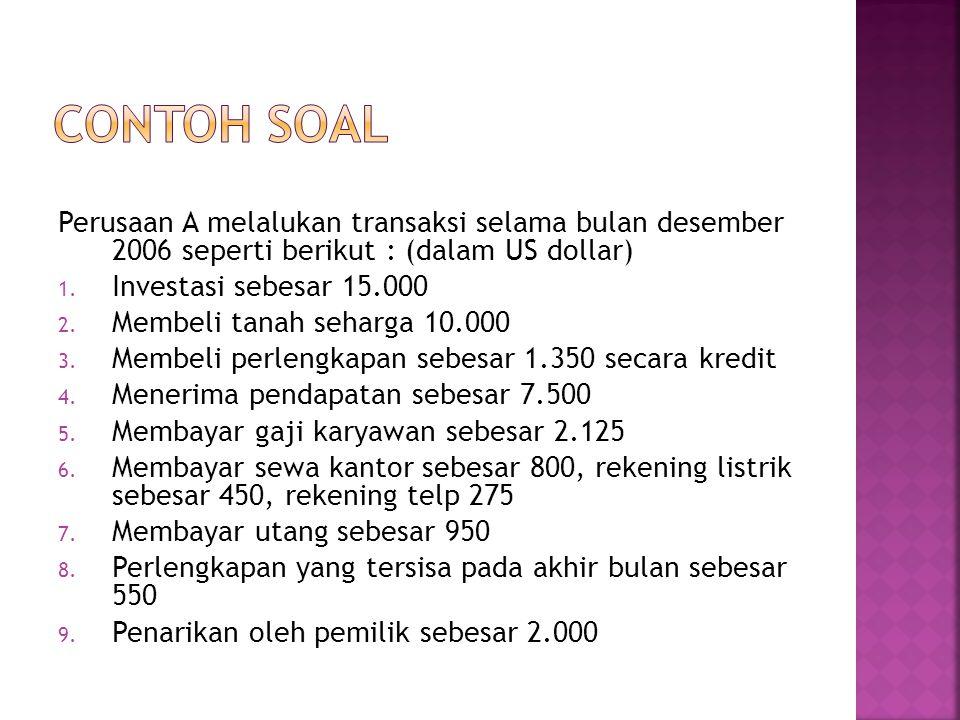 Perusaan A melalukan transaksi selama bulan desember 2006 seperti berikut : (dalam US dollar) 1.