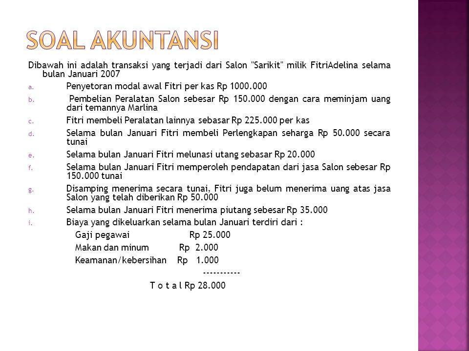 Dibawah ini adalah transaksi yang terjadi dari Salon Sarikit milik FitriAdelina selama bulan Januari 2007 a.