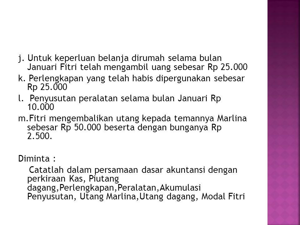 j. Untuk keperluan belanja dirumah selama bulan Januari Fitri telah mengambil uang sebesar Rp 25.000 k. Perlengkapan yang telah habis dipergunakan seb