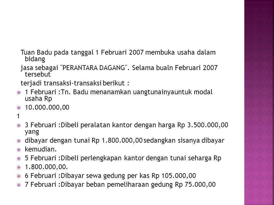 Tuan Badu pada tanggal 1 Februari 2007 membuka usaha dalam bidang jasa sebagai PERANTARA DAGANG .