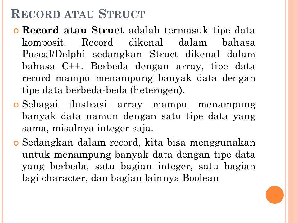 R ECORD ATAU S TRUCT Record atau Struct adalah termasuk tipe data komposit. Record dikenal dalam bahasa Pascal/Delphi sedangkan Struct dikenal dalam b