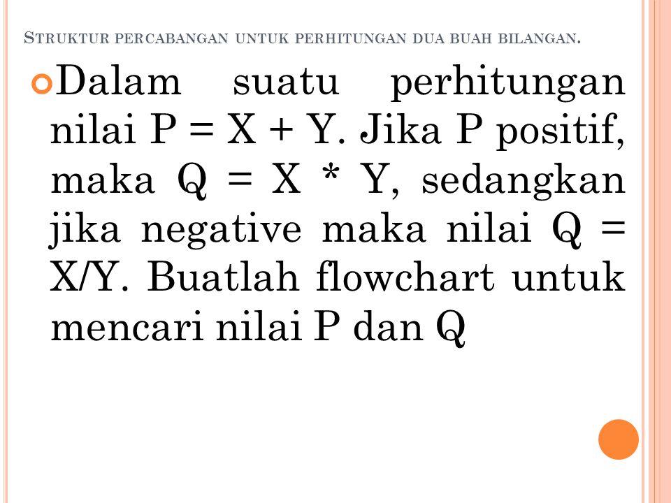 S TRUKTUR PERCABANGAN UNTUK PERHITUNGAN DUA BUAH BILANGAN. Dalam suatu perhitungan nilai P = X + Y. Jika P positif, maka Q = X * Y, sedangkan jika neg
