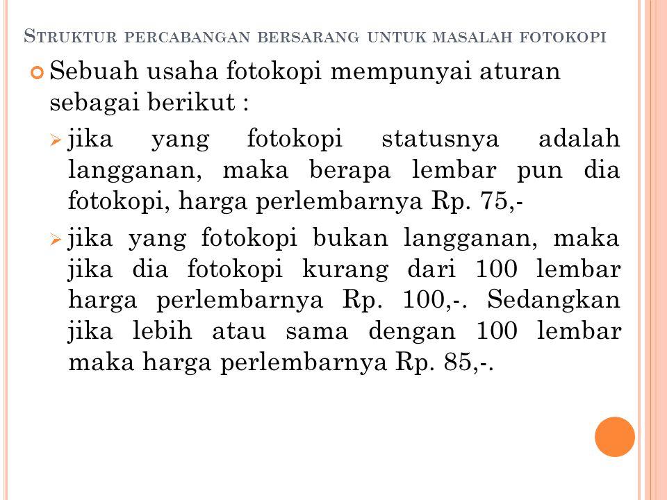 S TRUKTUR PERCABANGAN BERSARANG UNTUK MASALAH FOTOKOPI Sebuah usaha fotokopi mempunyai aturan sebagai berikut :  jika yang fotokopi statusnya adalah langganan, maka berapa lembar pun dia fotokopi, harga perlembarnya Rp.