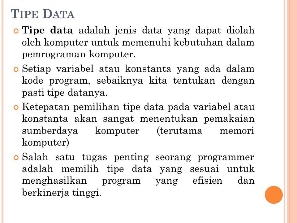 T IPE D ATA Tipe data adalah jenis data yang dapat diolah oleh komputer untuk memenuhi kebutuhan dalam pemrograman komputer. Setiap variabel atau kons