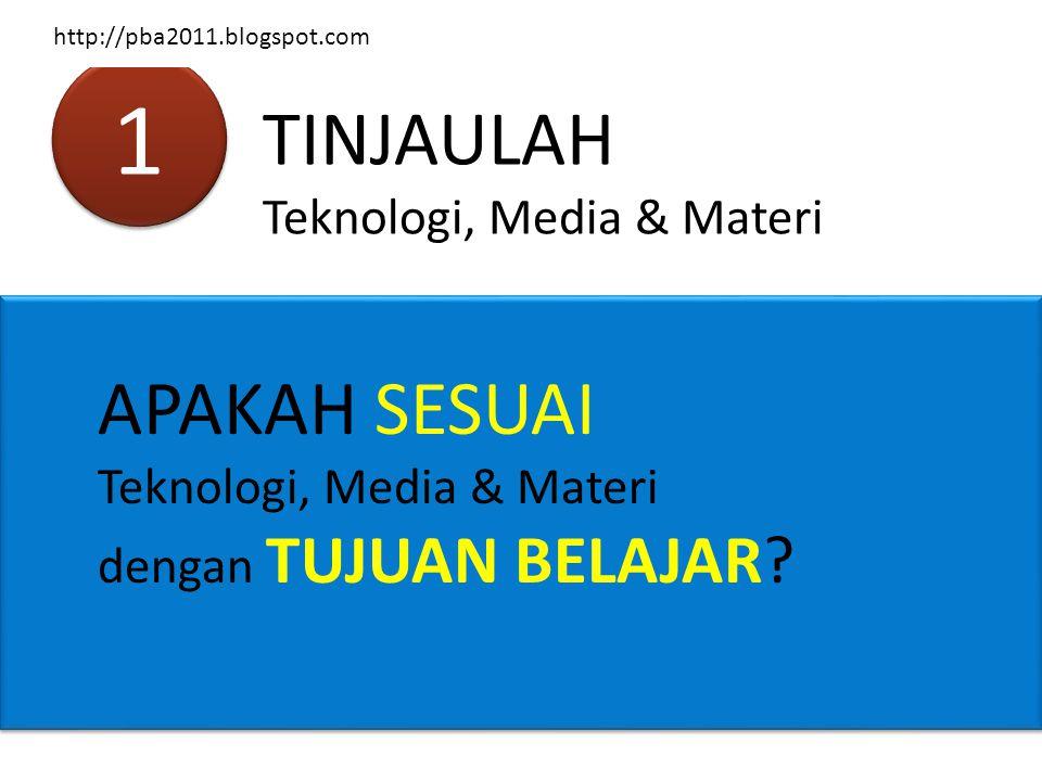1 1 TINJAULAH Teknologi, Media & Materi APAKAH SESUAI Teknologi, Media & Materi dengan TUJUAN BELAJAR? http://pba2011.blogspot.com