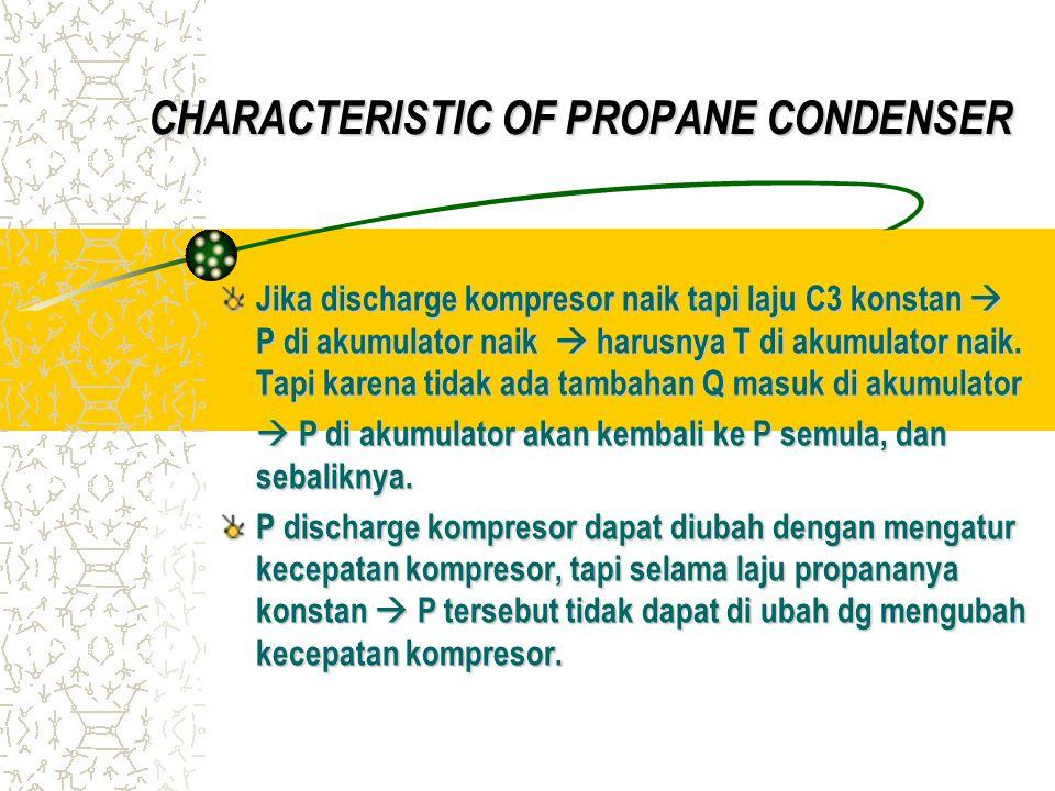 Jika discharge kompresor naik tapi laju C3 konstan  P di akumulator naik  harusnya T di akumulator naik.