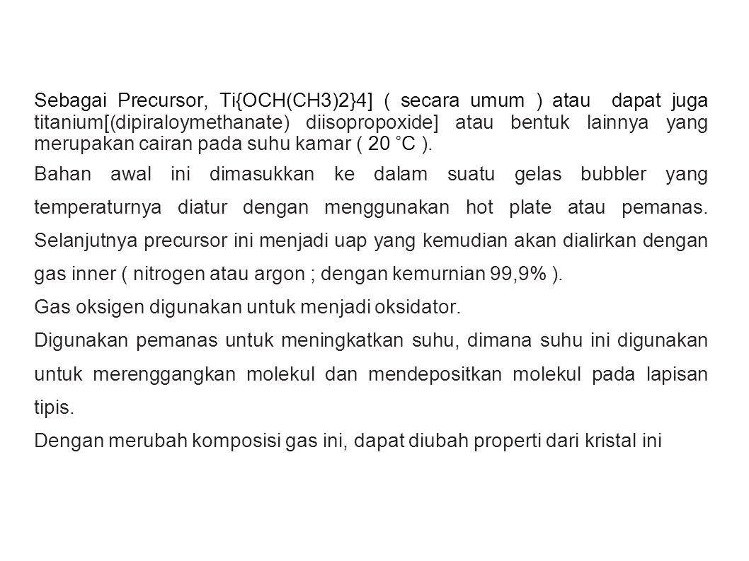 Sebagai Precursor, Ti{OCH(CH3)2}4] ( secara umum ) atau dapat juga titanium[(dipiraloymethanate) diisopropoxide] atau bentuk lainnya yang merupakan ca