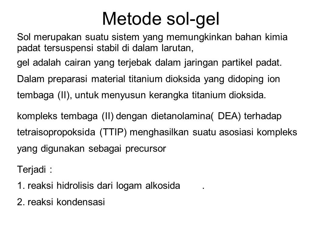 Metode sol-gel Sol merupakan suatu sistem yang memungkinkan bahan kimia padat tersuspensi stabil di dalam larutan, gel adalah cairan yang terjebak dal
