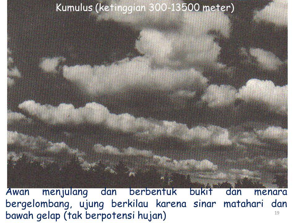 19 Kumulus (ketinggian 300-13500 meter) Awan menjulang dan berbentuk bukit dan menara bergelombang, ujung berkilau karena sinar matahari dan bawah gelap (tak berpotensi hujan)