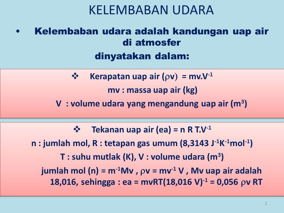 2 KELEMBABAN UDARA Kelembaban udara adalah kandungan uap air di atmosfer dinyatakan dalam:  Kerapatan uap air (  v  = mv.V -1 mv : massa uap air (kg) V : volume udara yang mengandung uap air (m 3 )  Kerapatan uap air (  v  = mv.V -1 mv : massa uap air (kg) V : volume udara yang mengandung uap air (m 3 )  Tekanan uap air (ea) = n R T.V -1 n : jumlah mol, R : tetapan gas umum (8,3143 J -1 K -1 mol -1 ) T : suhu mutlak (K), V : volume udara (m 3 ) jumlah mol (n) = m -1 Mv,  v  = mv -1 V, Mv uap air adalah 18,016, sehingga : ea = mvRT(18,016 V) -1 = 0,056  v  RT  Tekanan uap air (ea) = n R T.V -1 n : jumlah mol, R : tetapan gas umum (8,3143 J -1 K -1 mol -1 ) T : suhu mutlak (K), V : volume udara (m 3 ) jumlah mol (n) = m -1 Mv,  v  = mv -1 V, Mv uap air adalah 18,016, sehingga : ea = mvRT(18,016 V) -1 = 0,056  v  RT