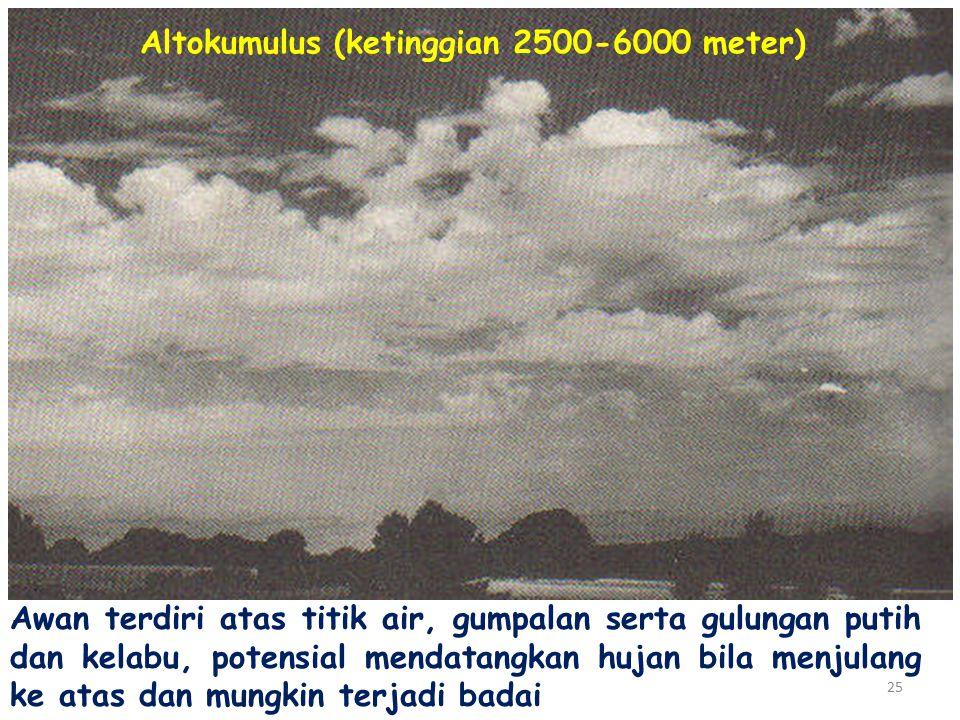 25 Altokumulus (ketinggian 2500-6000 meter) Awan terdiri atas titik air, gumpalan serta gulungan putih dan kelabu, potensial mendatangkan hujan bila menjulang ke atas dan mungkin terjadi badai