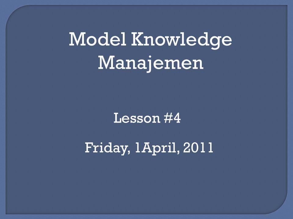Model Spiral Pengetahuan Nonaka dan Takeuchi Proses Sosialisasi : Berbagi pengetahuan secara langsung Pengetahuan tetap bersifat tacit contoh : brainstorming Proses Eksternalisasi : Memberikan bentuk yang terlihat dari pengetahuan tacit Memerlukan perantara untuk mentransform pengetahuan contoh : jurnalis
