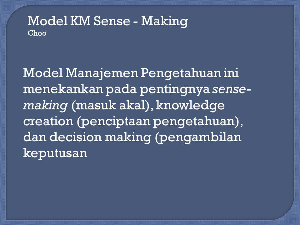 Model KM Sense - Making Choo Model Manajemen Pengetahuan ini menekankan pada pentingnya sense- making (masuk akal), knowledge creation (penciptaan pen