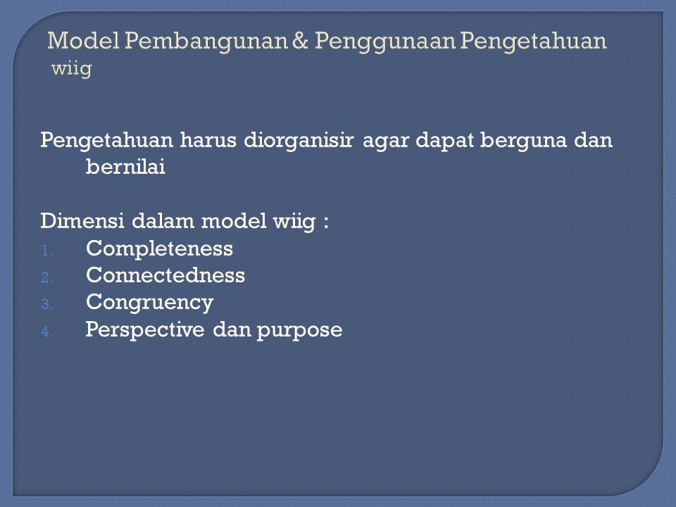 Pengetahuan harus diorganisir agar dapat berguna dan bernilai Dimensi dalam model wiig : 1. Completeness 2. Connectedness 3. Congruency 4. Perspective