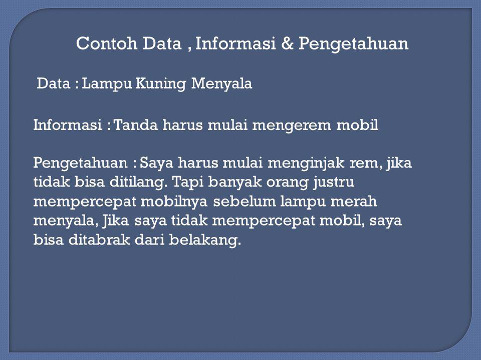 Contoh Data, Informasi & Pengetahuan Data : Lampu Kuning Menyala Informasi : Tanda harus mulai mengerem mobil Pengetahuan : Saya harus mulai menginjak