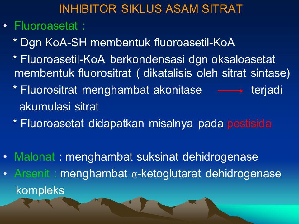 INHIBITOR SIKLUS ASAM SITRAT Fluoroasetat : * Dgn KoA-SH membentuk fluoroasetil-KoA * Fluoroasetil-KoA berkondensasi dgn oksaloasetat membentuk fluoro