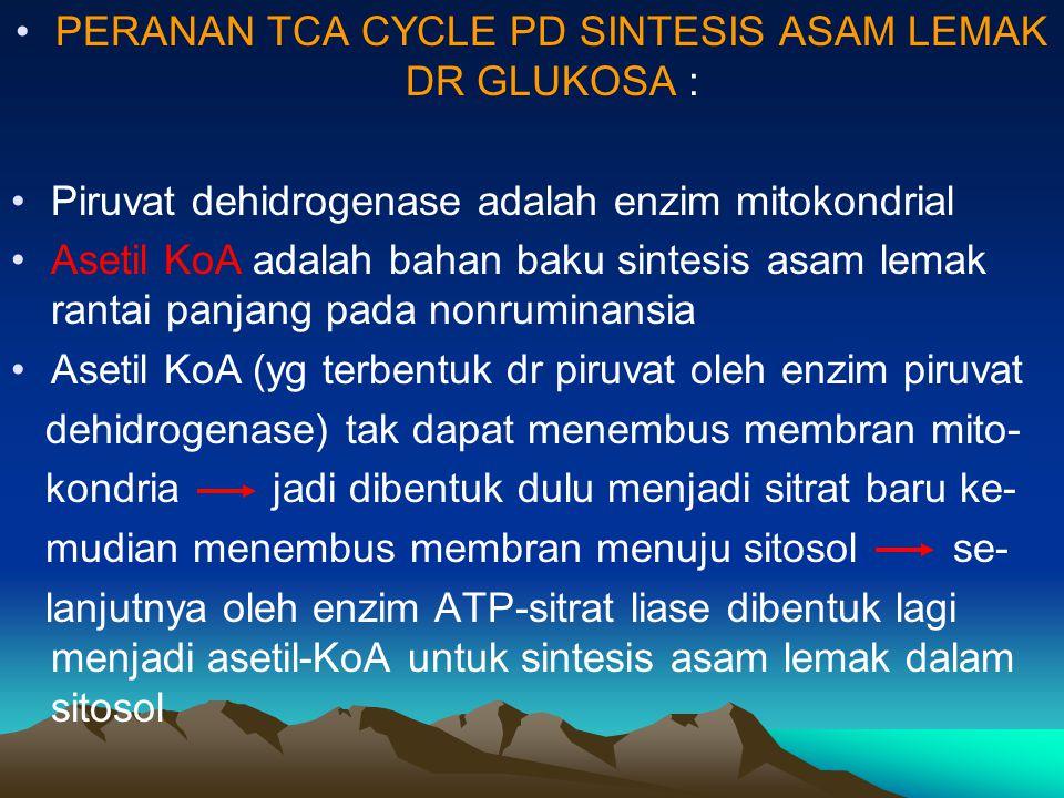 PERANAN TCA CYCLE PD SINTESIS ASAM LEMAK DR GLUKOSA : Piruvat dehidrogenase adalah enzim mitokondrial Asetil KoA adalah bahan baku sintesis asam lemak