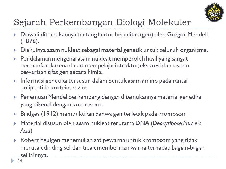 Sejarah Perkembangan Biologi Molekuler 14  Diawali ditemukannya tentang faktor hereditas (gen) oleh Gregor Mendell (1876).  Diakuinya asam nukleat s