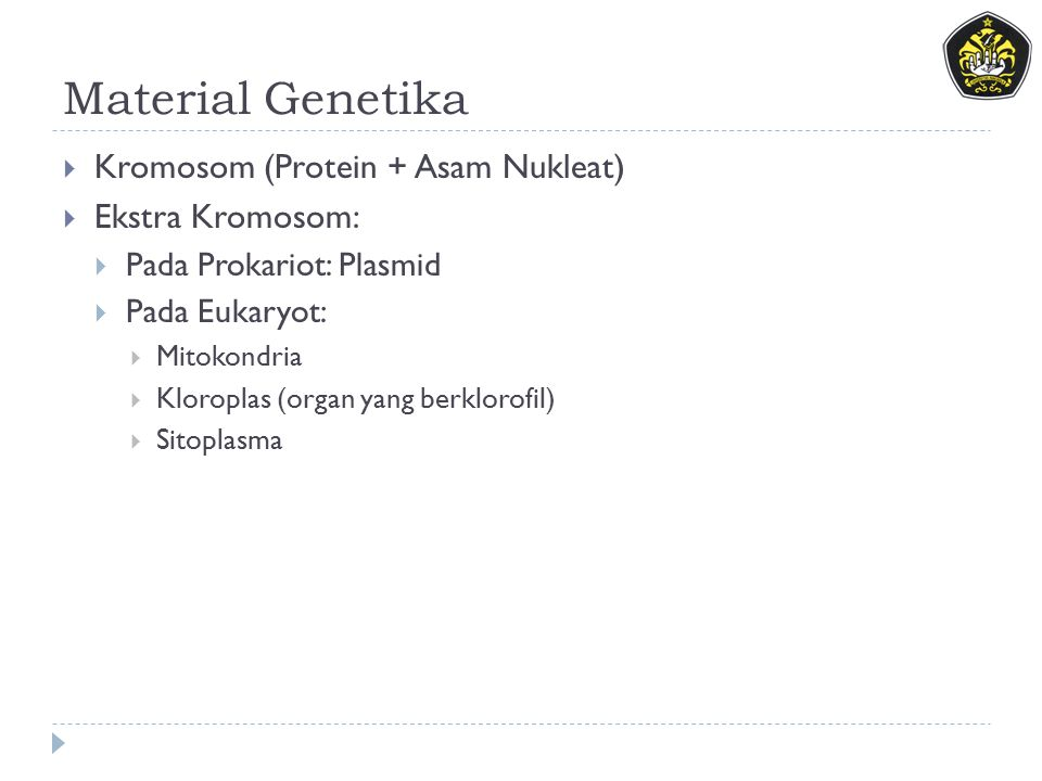 Material Genetika  Kromosom (Protein + Asam Nukleat)  Ekstra Kromosom:  Pada Prokariot: Plasmid  Pada Eukaryot:  Mitokondria  Kloroplas (organ yang berklorofil)  Sitoplasma