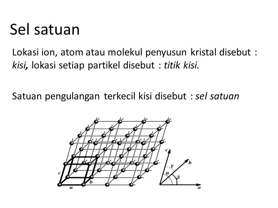 Sel satuan Lokasi ion, atom atau molekul penyusun kristal disebut : kisi, lokasi setiap partikel disebut : titik kisi. Satuan pengulangan terkecil kis