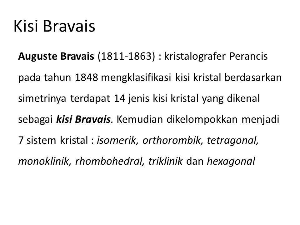 Kisi Bravais Auguste Bravais (1811-1863) : kristalografer Perancis pada tahun 1848 mengklasifikasi kisi kristal berdasarkan simetrinya terdapat 14 jen
