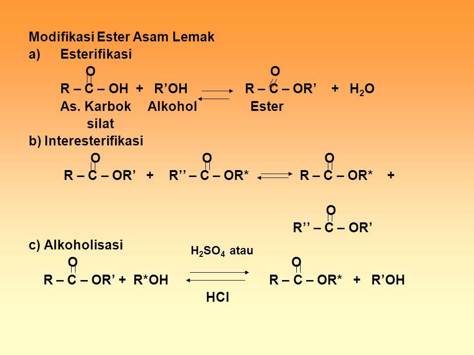 Modifikasi Ester Asam Lemak a)Esterifikasi O O R – C – OH + R'OH R – C – OR' + H 2 O As. Karbok Alkohol Ester silat b) Interesterifikasi O O O R – C –