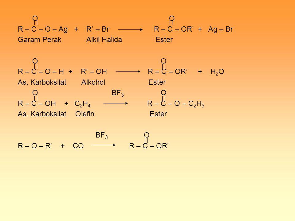 O O R – C – O – Ag + R' – Br R – C – OR' + Ag – Br Garam Perak Alkil Halida Ester O O R – C – O – H + R' – OH R – C – OR' + H 2 O As. Karboksilat Alko