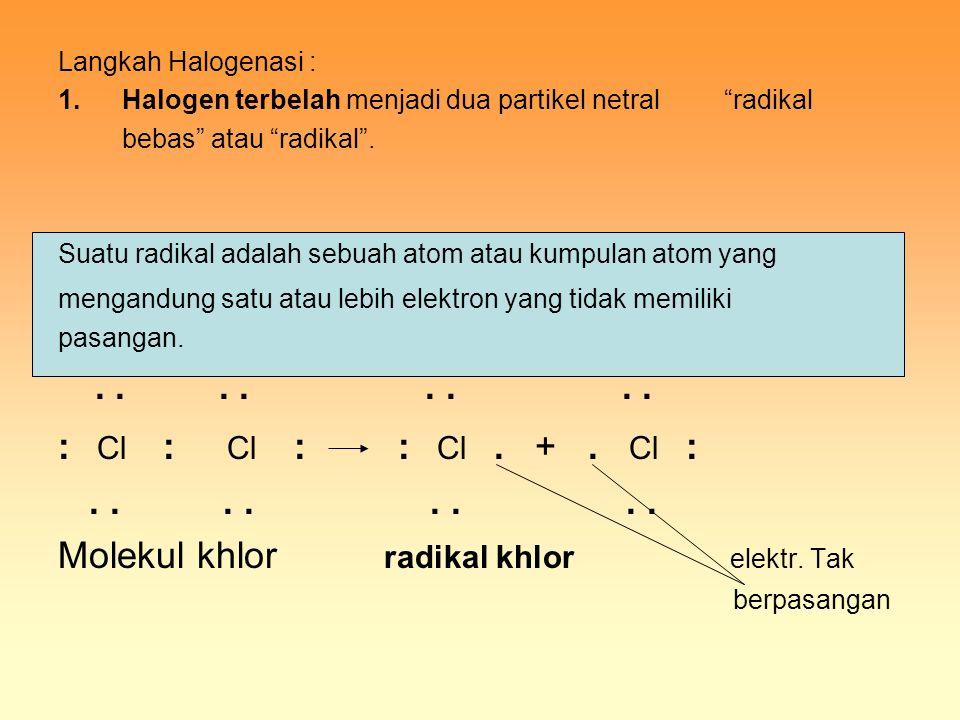 """Langkah Halogenasi : 1.Halogen terbelah menjadi dua partikel netral """"radikal bebas"""" atau """"radikal"""". Suatu radikal adalah sebuah atom atau kumpulan ato"""