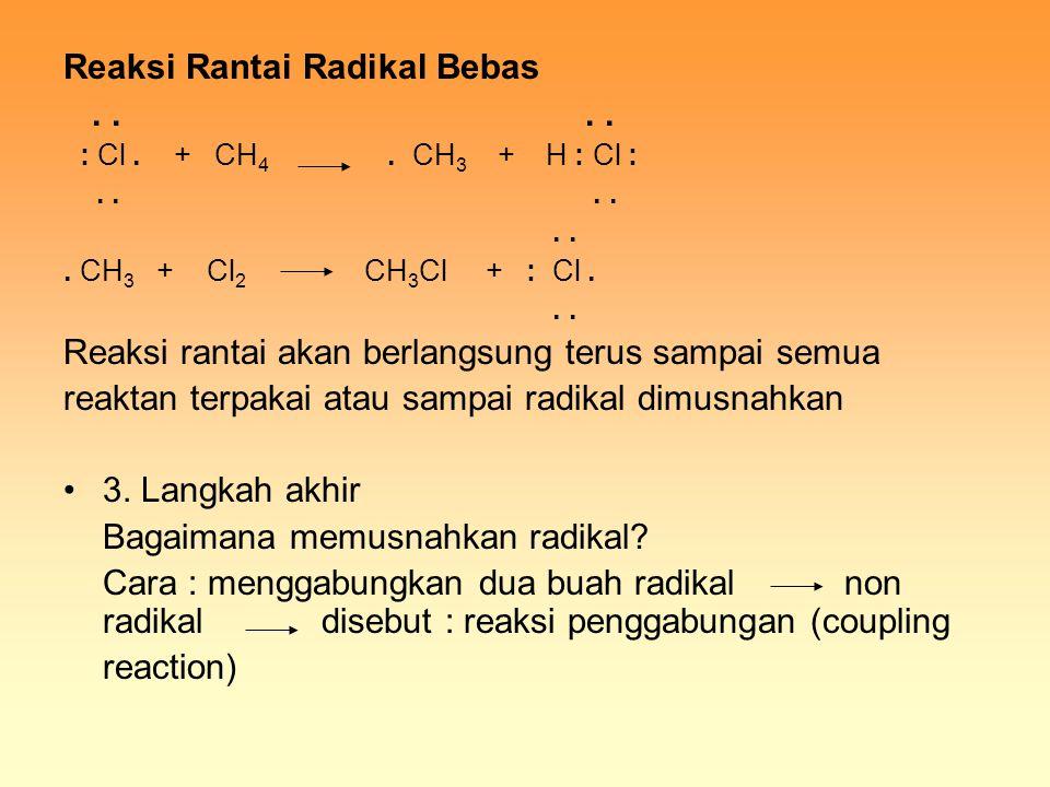 Reaksi Rantai Radikal Bebas.... : Cl. + CH 4. CH 3 + H : Cl :....... CH 3 + Cl 2 CH 3 Cl + : Cl... Reaksi rantai akan berlangsung terus sampai semua r