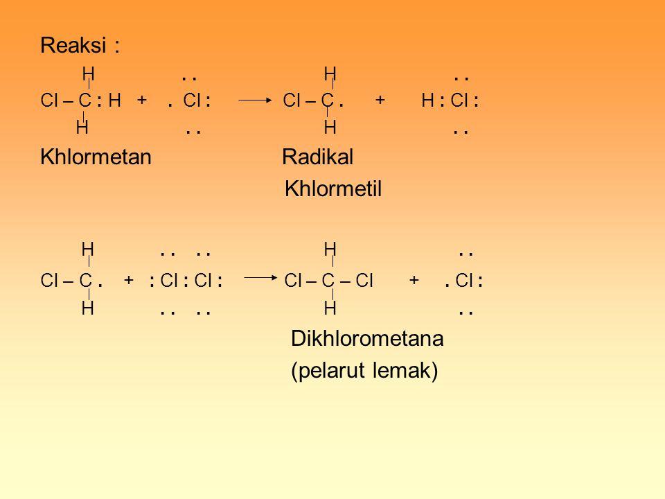 Reaksi : H.. H.. Cl – C : H +. Cl : Cl – C. + H : Cl : H.. H.. Khlormetan Radikal Khlormetil H.... H.. Cl – C. + : Cl : Cl : Cl – C – Cl +. Cl : H....