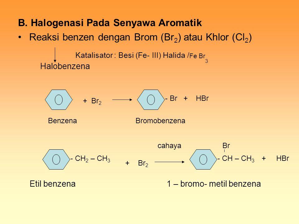 B. Halogenasi Pada Senyawa Aromatik Reaksi benzen dengan Brom (Br 2 ) atau Khlor (Cl 2 ) Halobenzena Etil benzena 1 – bromo- metil benzena Katalisator