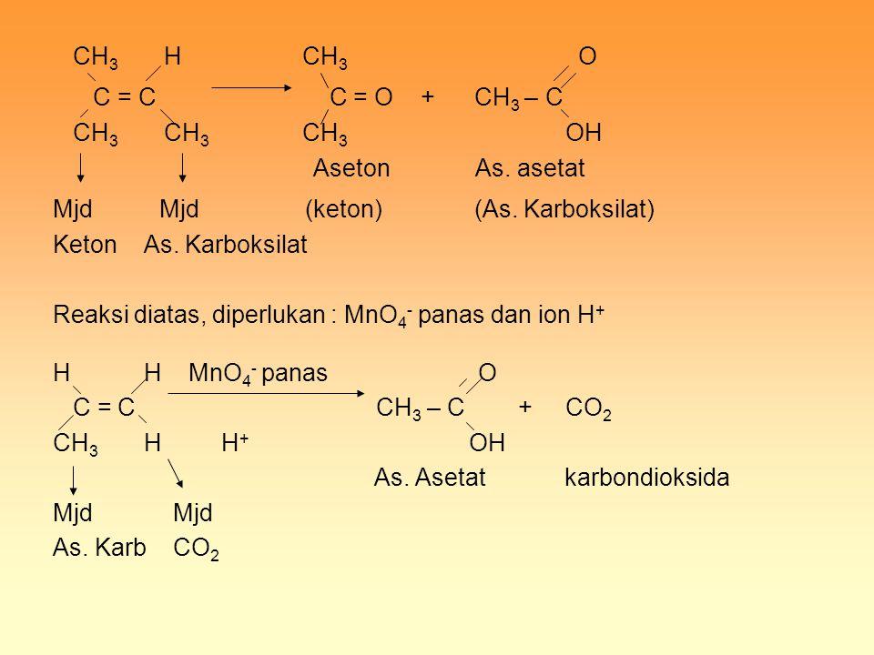 CH 3 H CH 3 O C = C C = O + CH 3 – C CH 3 CH 3 CH 3 OH Aseton As. asetat Mjd Mjd (keton) (As. Karboksilat) Keton As. Karboksilat Reaksi diatas, diperl