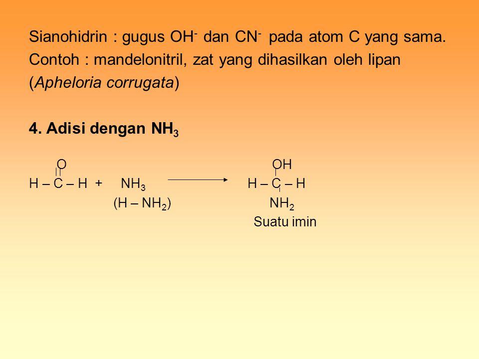 Sianohidrin : gugus OH - dan CN - pada atom C yang sama. Contoh : mandelonitril, zat yang dihasilkan oleh lipan (Apheloria corrugata) 4. Adisi dengan